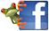 Facebook F with treefrog clinging to it